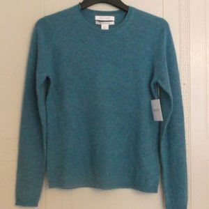 Ellen Tracy 100% Cashmere Teal Sweater NWT